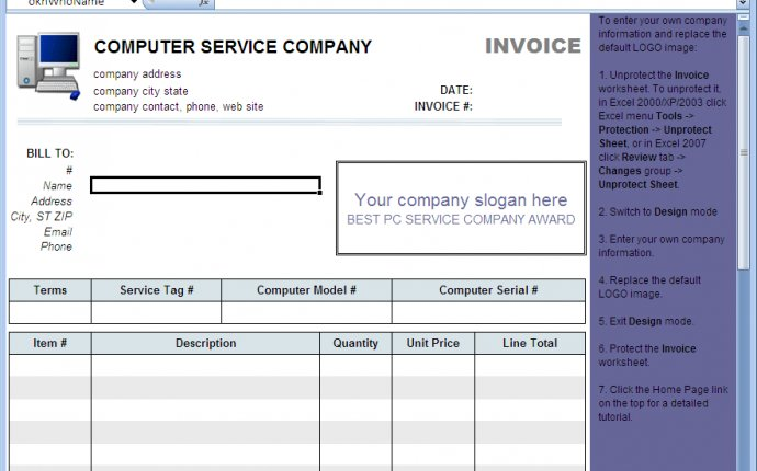 Computer Service Invoice Template - Download